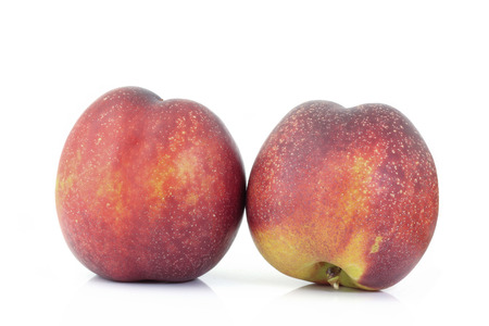 discolored: Peach on a white background Stock Photo