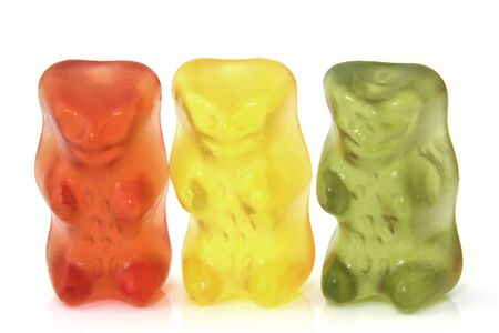 closeup: Gummi bears isolated