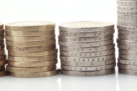 euro coins: Euro coins on white background Stock Photo