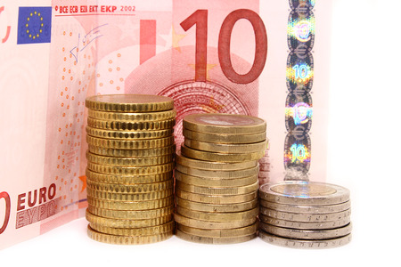 currency glitter: European coins and Bill