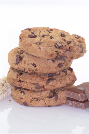deduction: Cookies and Chocolate on white background Stock Photo