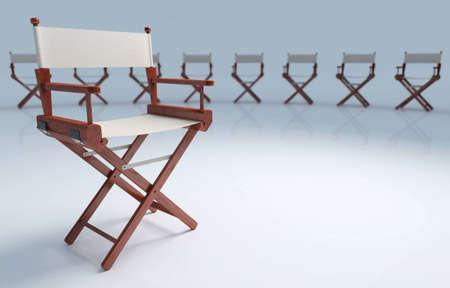exhibition crowd: Direttore sedia a conoscenze acquisite con altre sedie sullo sfondo.