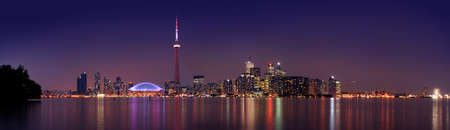 Wide view of the Toronto Skyline at dusk. It took 6 pictures to compose the final image. photo