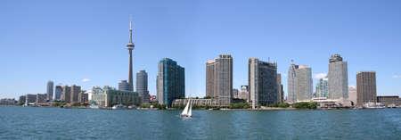 building cn tower: Panoramic view of the Toronto Skyline. Stock Photo