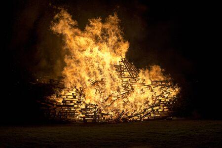 siloette: Bonfire crates Stock Photo