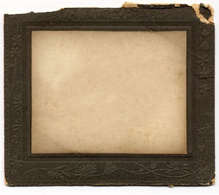 grubby: Antique card picture frame with blank photograph.