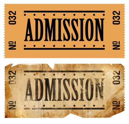 admissions: Fake Admissions Tickets. New and oldaged. Stock Photo