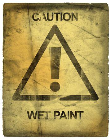 achtung schild: Achtung Anmelden Wet Paint