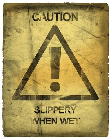 Caution Sign Slippery When Wet photo