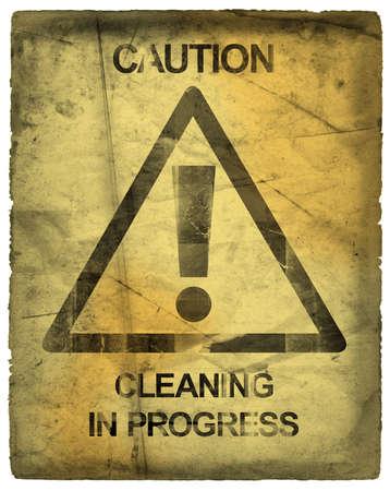 achtung schild: Achtung Anmelden Reinigung in Progress  Lizenzfreie Bilder