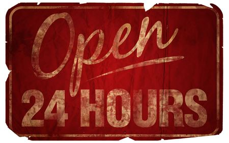 Aged Open 24 Hours sign.