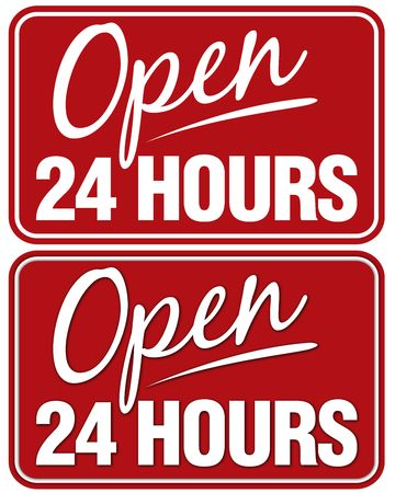 Open 24 Hours sign.Top sign flat style. Bottom sign has shadowing for a layered look