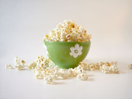 popcorn in a green bowl. photo