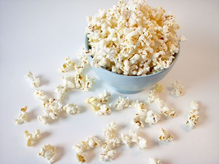 Popcorn in Blue bowl photo