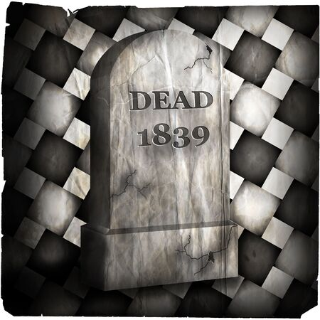 hallows: Illustration of a tombstone degraded. Stock Photo