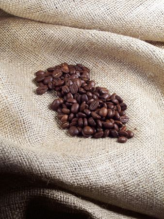 Coffee Beans on Burlap.