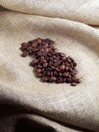 Coffee Beans on Burlap.