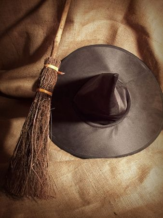 A Witch's Broom and Hat.