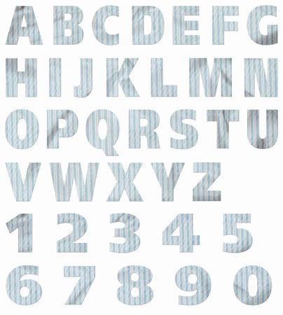 Alphabet and numbers cut from blue stripped cloth.