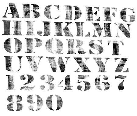 Degraded alphabet and numbers. Standard-Bild