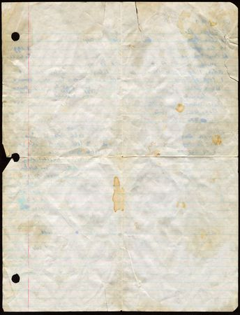 Dirty used loose leaf paper. Stockfoto