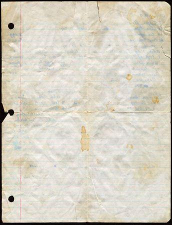 Dirty used loose leaf paper. Standard-Bild
