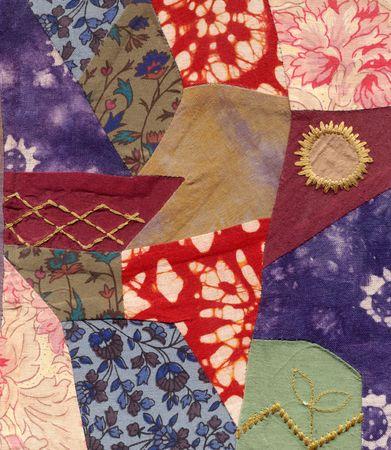 untidy: Patch work fabric. Stock Photo
