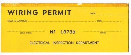 permit: Old wiring permit for the 1970s. The ID number has been changed to a fake number. Stock Photo