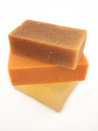 3 bars van natuurlijke zeep - geitenmelk, hennepzaad olie en glycerine Stockfoto - 263061