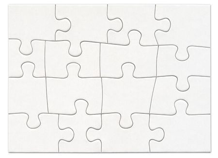 difficult mission: Complete blank white puzzle Stock Photo