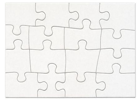 Complete blank white puzzle Stockfoto