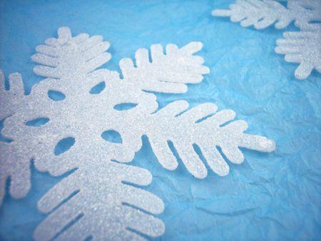 Snowflakes on blue. photo