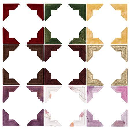 Negen sets foto hoeken in verschillende kleuren en texturen - Rood fluweel, groen papier met bladeren, goud fluweel, donker bruin natuurlijke papier, donkerbruin faux suède, licht bruin natuurlijke papier, paars ouder materiaal, wit papier met natuurlijke bloem stukken, purp Stockfoto - 303580