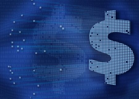 Digital Money Background in blue. Stockfoto