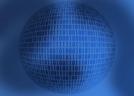 Binary sphere on blue background.