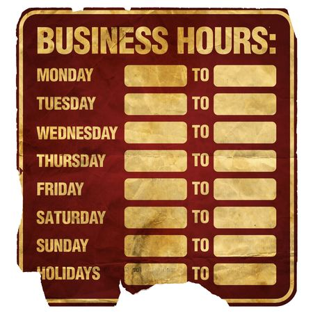 informative: Business Hours sign degraded (blank).
