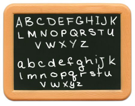 child's: Childs mini plastic chalkboard - alphabet Stock Photo