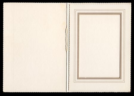 dungy: Antique card picture frame with blank area for photograph.