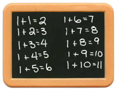 Childs mini plastic chalkboard - Math photo