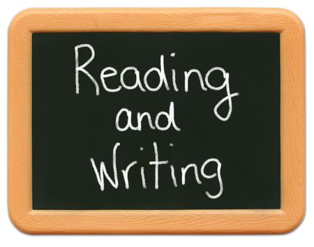 reading and writing: Childs mini plastic chalkboard - Reading & Writing Stock Photo