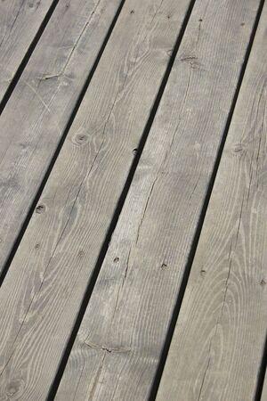 2x4: Grey wood deck. Stock Photo