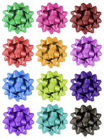 12 verschillende kleuren geschenk strikken. Stockfoto - 422604