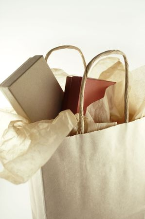 Shopping bag with two boxes and tissue paper.