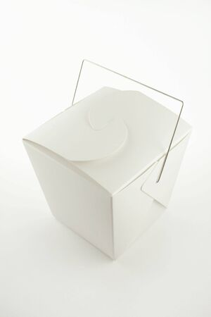 Chinese take-out food container on white.