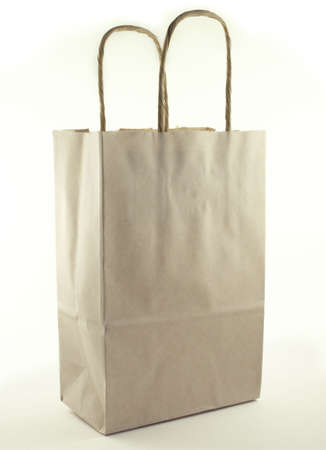 Brown paper shopping bag. Stock Photo
