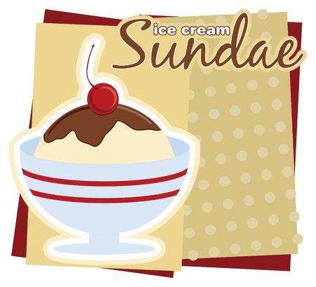 ice cream sundae: Illustration of an ice cream Sundae sign.