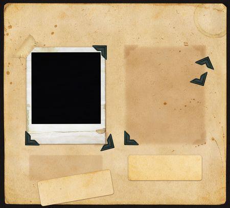 Oud plakboek pagina met ontbrekende en ongeorganiseerd items. Stockfoto - 745816