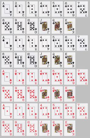 Deck of 52 cards, laid out on neutral grey background.