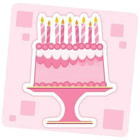 ピンクの誕生日ケーキのイラスト。