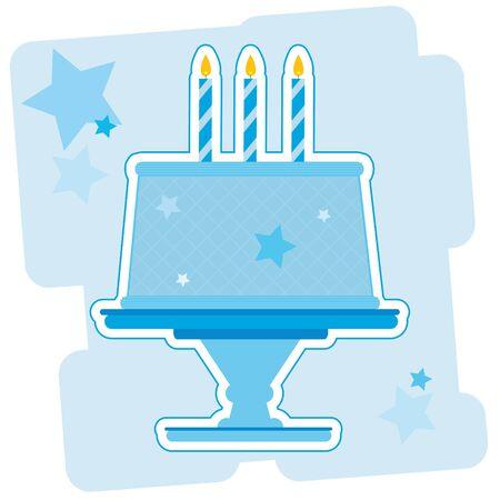 青誕生日ケーキのイラスト。